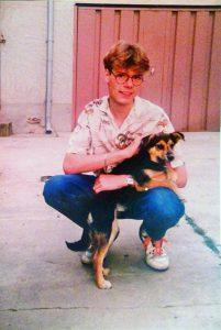 Bei meinem Onkel in Reichenwalde mit Hund Rudi.